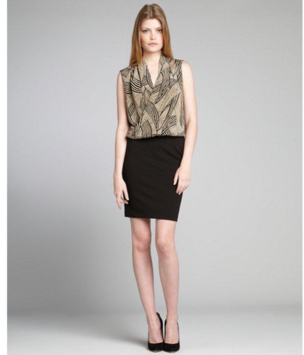 Amanda Uprichard taupe and black printed silk blouson 'Aspen' dress