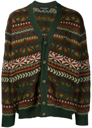 Saint Laurent Pre-Owned 1980s geometric intarsia buttoned cardigan
