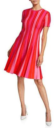 Carolina Herrera Short-Sleeve Striped Knit Pleated Dress