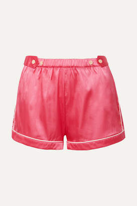 Morgan Lane - Fiona Piped Silk-blend Charmeuse Pajama Shorts - Pink