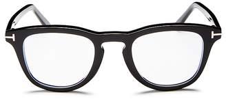 Tom Ford Square Keyhole Blue Blocker Glasses, 49mm