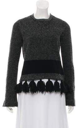 Proenza Schouler Tassel-Trimmed Crew Neck Sweater Black Tassel-Trimmed Crew Neck Sweater
