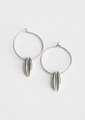 Duo Bar Charm Hoop Earrings