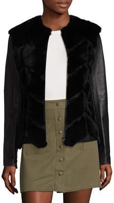 Badgley Mischka Tyra Rabbit Fur and Leather Coat