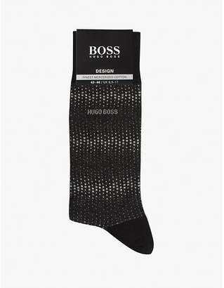 BOSS Spotted print cotton-blend socks