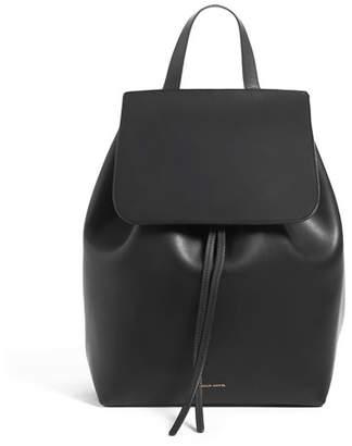 Mansur Gavriel Leather Flap-Top Backpack, Black/Red