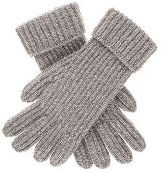 Black Mens Grey Rib Knit Cashmere Gloves