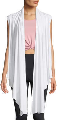 Onzie Draped Open-Front Sleeveless Yoga Cardigan