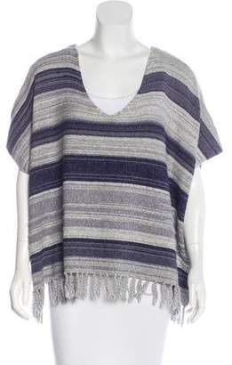 Soft Joie Fringe-Trimmed Striped Poncho