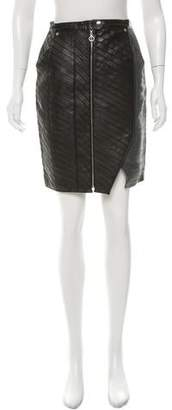 Brandon Sun Metallic-Paneled Leather Skirt