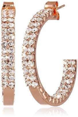 "Oroclone""Crystal Set"" 30mm Plated Twin Row Inside Out Earrings"