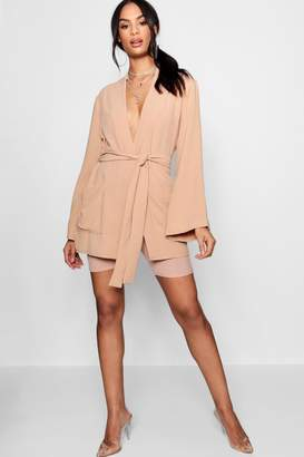 boohoo Belted Oversized Pocket Blazer