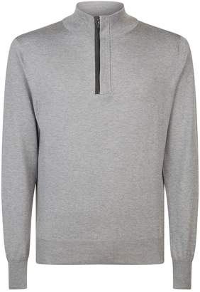Canali Suede Zip Sweater