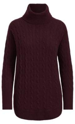 Ralph Lauren Cable-Knit Turtleneck Sweater Wine S