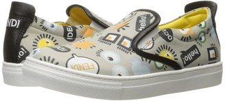 Fendi Kids - All Over Print Slip-On Sneakers Boys Shoes $539 thestylecure.com