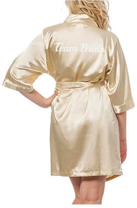 Cathy's Concepts Cathy Concepts Team Bride Gold Satin Robe