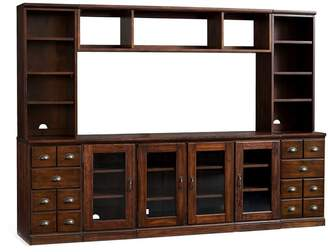 Pottery Barn Printer's Entertainment Center with Cabinets & Bridge, Tuscan Chestnut
