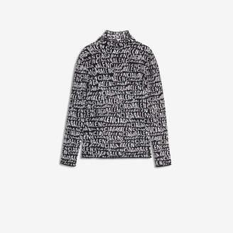 Balenciaga Turtleneck in black and white Logo Wave velvet knit