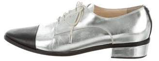 Jimmy Choo Metallic Square-Toe Oxfords