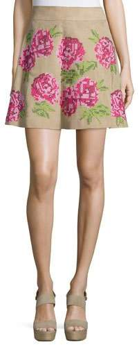 Michael Kors Floral Embroidered Flirt Skirt, Sand
