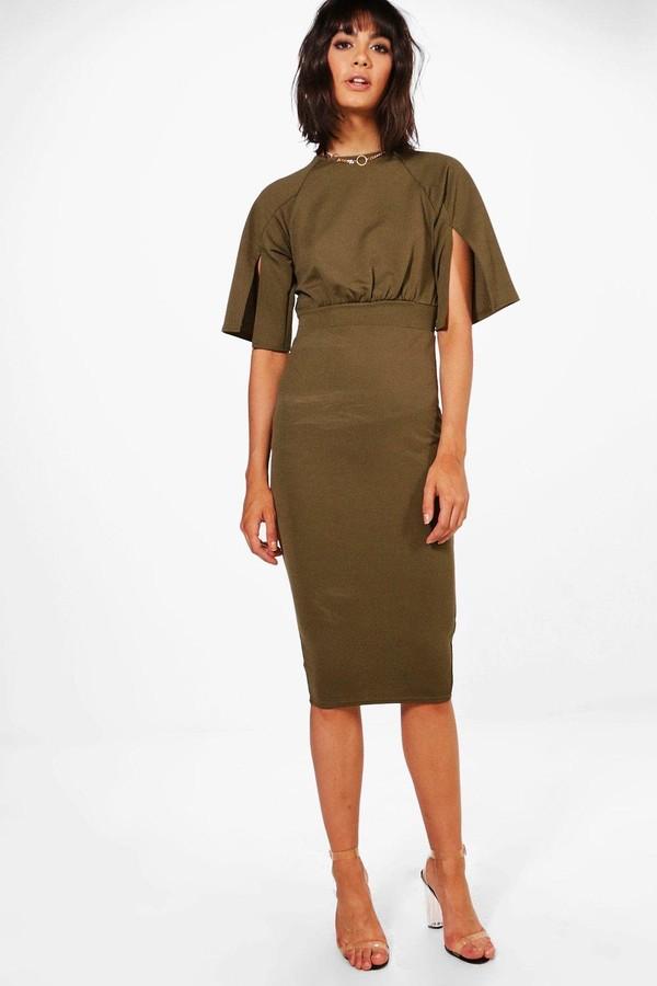 9577d77c7687 boohoo Split Sleeve Detail Wiggle Midi Dress - ShopStyle Day