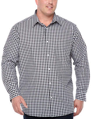 Claiborne Long Sleeve Gingham Button-Front Shirt-Big and Tall