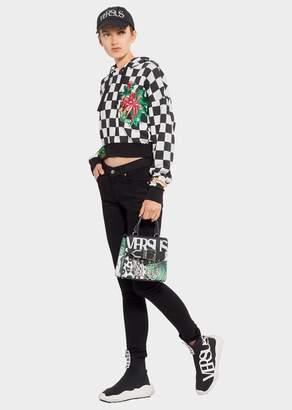 Versace Floral Checkerboard Print Hoodie