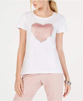 INC International Concepts I.n.c. Cotton Sequin Heart T-Shirt