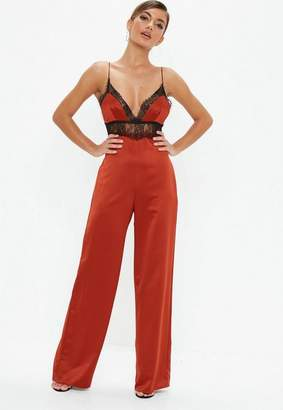 Missguided Rust Red Satin Lace Jumpsuit, Rust