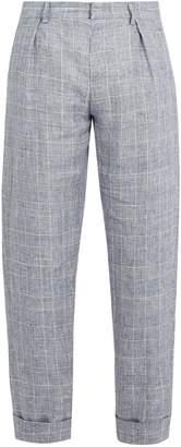 MAISON KITSUNÉ Checked linen cropped trousers