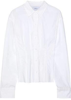 90f3af7e11a8ed Current Elliott The Tella Pleated Cotton-poplin Shirt