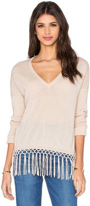 Autumn Cashmere Fringe V Neck Sweater $330 thestylecure.com