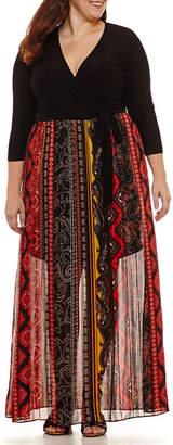 WESLEE ROSE Weslee Rose 3/4 Sleeve Geo Linear Maxi Dress-Plus