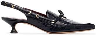 Sies Marjan blue Enid 40 crocodile embossed leather slingback pumps