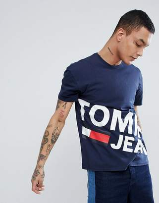 Tommy Jeans flag large diagonal flag logo organic cotton t-shirt in navy