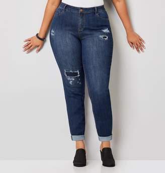 Avenue Premium Girlfriend Rolled Cuff Rip And Repair Jeans