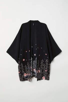 H&M Kimono with Printed Design - Black/flowers - Women