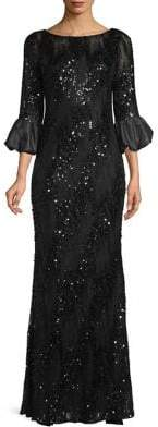 Carmen Marc Valvo Puff Sleeve Sequin Gown