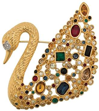 Susan Caplan Vintage 1970's Swarovski swan brooch