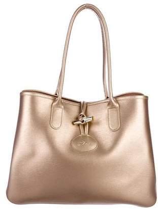 Longchamp Metallic Roseau Leather Tote