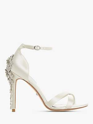 Dune Marvelle Bridal Collection Embellished Stiletto Heel Sandals, Ivory Satin