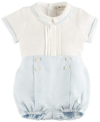 Pili Carrera Short-Sleeve Blouse w/ Button-On Shorts, Blue, Size 3M-2Y
