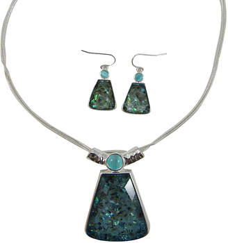 MIXIT Mixit Silver-Tone Abalone-Look Pendant Necklace and Earring Set