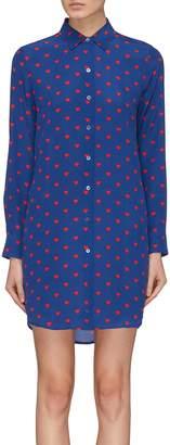 Equipment 'Essential' heart print silk crepe shirt dress