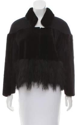 Oscar de la Renta Fur-Trimmed Stand Collar Jacket w/ Tags Black Fur-Trimmed Stand Collar Jacket w/ Tags