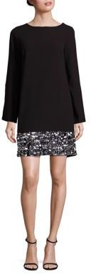 Laundry by Shelli Segal Embellished Bell Sleeve Shift Dress $325 thestylecure.com