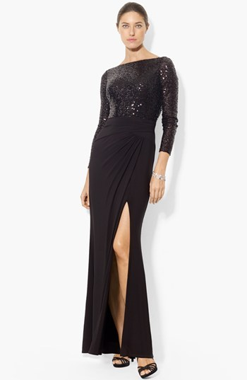 Lauren Ralph Lauren Embellished Bodice Jersey Gown