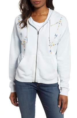 Lucky Brand Geo Embroidered Zip-Up Hoodie