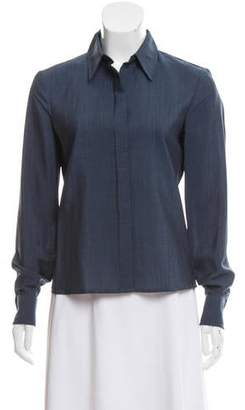 Calvin Klein Collection Wool-Blend Button-Up Blouse