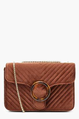 boohoo Velvet Quilted Resin Ring Cross Body